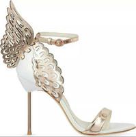 ultra stiletto fersen sandalen großhandel-2018 neue Heiße Verkaufsmarke Sophia Webster Cleo Sandalen Aus Echtem Leder Pumpt Schmetterling Ultra High Heel Sandalen Für Frauen Sexy Stiletto Schuhe