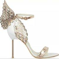 sandálias de salto alto venda por atacado-2018 New Hot Sale Marca Sophia Webster Cleo Sandálias de Couro Genuíno Bombas de Borboleta Sandálias Ultra High Heel Para As Mulheres Sexy Stiletto Sapatos