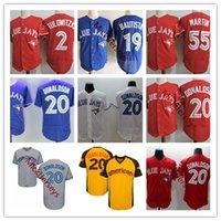 desconto de beisebol venda por atacado-Desconto Mens 20 Josh Donaldson Jerseys Costurado # 2 Tro Tulowitzki 19 Jose Bautista 55 Russell Martin Base de Basebol Basebol Jersey S-3XL