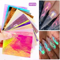Wholesale nail art sticker strips resale online - 16Pcs Flame Nail Sticker Aurora Fire Nail Holographic Strip Tape Flame Reflective Adhesive Foils Laser Art Decal Stickers