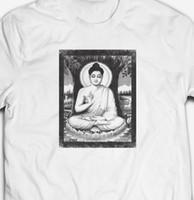 kung fu blanco negro al por mayor-VINTAGE RETRO CHILLED DEITY SHAOLIN KUNG-FU 100% algodón Camiseta para hombre TEE blanco pantalón rojo gris rojo camiseta