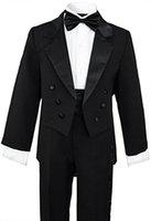 casaco de meninos venda por atacado-Menino Terno Entalhe Lapela Custom Made Double Breasted Terno Do Miúdo De Casamento / Baile / Jantar / Lazer / show Crianças terno (Jaqueta + Calça + Camisa + Gravata) M1316