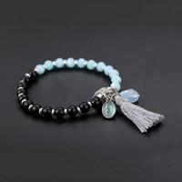 14k quaste armband großhandel-Bohemian Style Handmade 2 Farben Kristall Perlen Naturstein Armband Emaille Liebeszauber Armbänder mit Quaste