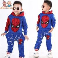 männliche kind mode großhandel-1 Anzug Kinderbekleidung Frühling und Herbst Version des männlichen und weiblichen Kinder Spiderman Set Fashion Suit ATST0279