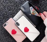 niedlicher telefontaschenkasten großhandel-Liebe umschlag handy fällen mit kartentasche mode niedlich vollen schutz telefon case für iphone xs max xr x