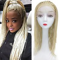 perücke flecht weiß großhandel-Geflochtene Lace Front Blonde Perücke Twist Crochet Box Braids Hochtemperaturfaser Haar Blonde 613Synthetic Lace Front Perücken für weiße Frauen