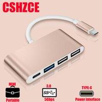 usb 3.1 c hub toptan satış-USB C HUB C Tipi Çoklu USB 3.0 HUB Adaptörü Dock MacBook Pro için Huawei P30 / P20 USB-C 3.1 Splitter 3 Port