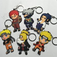 zincir anahtar anime naruto toptan satış-Naruto 6 Tasarım Anime Anahtarlık Naruto Anahtarlık Anahtarlık Dekoratif kolye Hediye çocuk Oyuncakları PVC anahtarlık