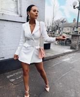 encimeras largas al por mayor-Nuevas mujeres Blazers de oficina de trabajo Ropa de trabajo de color sólido Trajes de negocios para mujer Cárdigan de manga larga Botones de moda Traje OL Mujeres Top Blanco