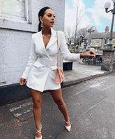 blazerler kadınlar için renk beyaz toptan satış-Yeni Kadın Çalışma Ofisi Blazers Katı Renk Workwear İş Takım Elbise Kadınlar Uzun Kollu Hırka Moda Düğmeleri OL Kıyafet Kadınlar için Üst beyaz