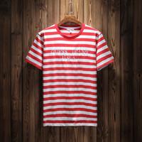 ropa a rayas al por mayor-Pantalones vaqueros EE. UU. Camisetas de rayas de moda de verano diseñador de bordado camisetas de manga corta tops ropa