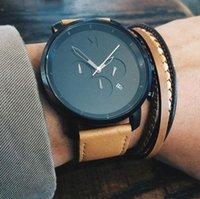 bracelet de calendrier achat en gros de-2019 Mode Montre MVMT montres de luxe pour hommes Sport Casual Simple Bracelet en cuir Chronographe marque calendrier Quartz Femmes Montres-bracelets