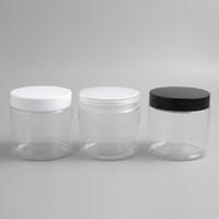 tarros de crema para mascotas al por mayor-30 x 200 ML Big Clear PET Cream Jars con tapa de plástico blanco negro 200 g Frosted Cosmetic Makeup Muestra de loción Botella de envase