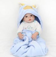 Wholesale silicone reborn boy resale online - 55cm Reborn Baby dolls inch full Silicone vinyl Lifelike Baby boy reborn silicone with Pillow blanket