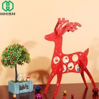 Wholesale mini wooden christmas tree decorations for sale - Group buy WHISM DIY Christmas Wooden Decoration with Cute Hanging Craft Mini Xmas Deer Ornament Pendant Gift for New Year Party Home Decor
