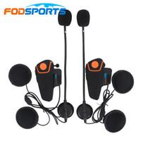 kask walkie talkies kulaklıklar toptan satış-Fodsports Bt-S2 Pro Kablosuz İnterkom Motosiklet Bluetooth Kask Kulaklık Dahili 1000M FM ile su geçirmez Intercomunicador