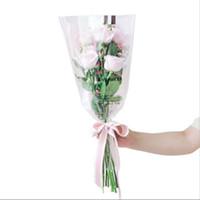 ручная розовая бумага оптовых-50 шт. / Лот Букет упаковочная бумага розы цветок Флорист упаковка цветов ручной прозрачной упаковочной бумаги Корейский новый стиль Подарочная упаковка
