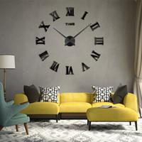 ingrosso orologi da parete acriliche-Orologio da parete 3D Adesivi murali specchio acrilico fai da te 2019 Nuovo stile moderno Decorazioni per la casa di lusso Grandi orologi al quarzo romano