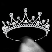 Crystal Bridal Crown Luxury Zircon Pearl Crown Tiara Hot Sale Wedding Hair  Accessories Vintage Bridal Headband Headpiece Jewelry ab352a081ede