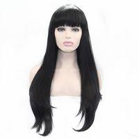 lange glatte haare schlagen schwarze frauen großhandel-Natürliche Haaransatz Schwarze Lange Gerade Perücken mit Pony Hochwertige Synthetische Lace Front Perücke für Schwarze Frauen Hitzebeständige Faser Haar