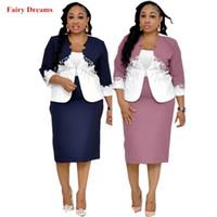 strickjacke kleid großhandel-Dashiki Afrikanische Kleidung für Frauen Zweiteilige Sets Strap Sunderss und Mantel Blau Rosa Cardigan Sommer-Bleistift-Kleid-Fee-Träume