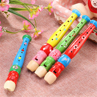 Wholesale flute toys resale online - 20cm kindergarten early education flute playing musical instrument wooden cartoon flute hole small Piccolo playing baby music learning toy