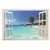 Wholesale beach art decor resale online - Art Wall Decor White Sand Beach with Palm Tree Open Window Wall Mural Removable Sticker for Kids Room Home Decor Tropical Beach Gallery