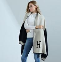 tartan schal koreanisch großhandel-2020 Herbst und Winter neue koreanische Version des High-End-doppelseitigen H-Brief Kunstkaschmirschal Damen dicken warmen Schal