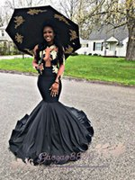 vestido preto bal venda por atacado-2019 Africano Sexy preto sereia vestidos de baile com o ouro Vestidos de Renda de bal barato Formal Vestidos de Festa À Noite Vestidos de fiesta noite Vestidos