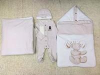 babydecke warme schlafsack großhandel-Neugeborener Anzug Baby Schlafsack + Decke + Overall Anzug Warm 4er Set