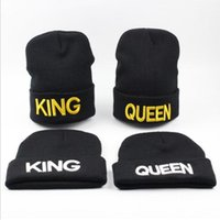 Wholesale knit brimmed skull caps resale online - KING QUEEN hat High Quality Beanie Ski Cap Gold letter Tour Skull Stretch Caps Soft Cuff Beanie Knitted Hiphop Warm winter hats
