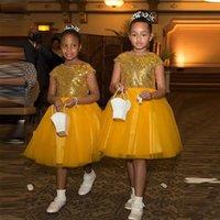 Wholesale wedding dress ruffles for sale resale online - Hot Sale Gold Sequined Flower Girls Dresses For Wedding Little Girls Knee Length Short Sleeves Bridesmaid Junior Dress Cheap Girls