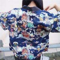 stickerei hülse bluse großhandel-Dame Embroidery Japanese Kimono Bluse Harajuku Kurzarm V-Ausschnitt Lose Strickjacke Devils Night Print Damen Shirt 33330