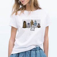 robot c toptan satış-T Shirt Kadın Droids R2-C-3PO Maceraları Üçlemesi Tshirt 80 s Fanlar Tee Robot Tişört Tops