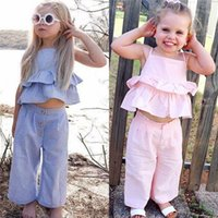 Wholesale girl clothes for sale - Fashion Kids Baby Girl Striped Outfits Summer Clothes Sleeveless Strap Ruffle Vest Tops Wide Led Pants Headband Sets Y