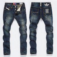 ingrosso jeans di jogger strappati mens-Stilista da uomo Jeans da motociclista strappati Patchwork in pelle Pantaloni da moto in denim aderenti per pantaloni da uomo in difficoltà