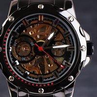 reloj de titanio para hombres al por mayor-2016 Top GANADOR Automático Mecánico Hombres Relojes Remaches Caja Inoxidable Skeleton Dial Full Steel Titanium Masculino Relojes de pulsera de Regalo