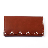 Wholesale personalized photo cards resale online - Scallop Fold out Light Brown Vegan Leather Wallet Personalized Embroider Clutch Wallet Bridesmaid Birthday Gift for Her DOM