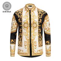 paçavra gömleği toptan satış-Kraliyet gösterileri erkek gömlek erkek Uzun kollu casual gömlek moda Altın desen yaka + placket için