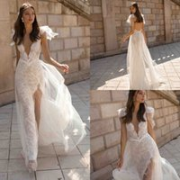 Wholesale wedding dresses for sale - 2019 New Wedding Dresses V Neck Lace Backless A Line Bridal Gowns High Slit See Through Trumpet Customized Beach Wedding Dress