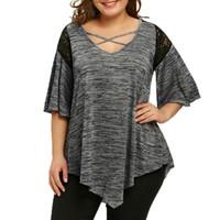 frauen halbe hemden großhandel-Größe Big Flare Sleeve Tunika Asymmetrische Bluse Shirt Frauen Patchwork V-Ausschnitt Halbarm Lace Panel Womens Plus Size