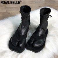çorap çorabı toptan satış-Moda Tasarımı Kadınlar Bilek Boots Bölünmüş Burun Düz Çorap Çizme Yumuşak Deri sapanlar Boot Sonbahar Kış Ayakkabı Kadın Punk Ayakkabı