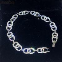 bracelets en diamant pavé achat en gros de-Vecalon Hiphop Chaîne Bracelet Pave Setting Diamant Or Blanc Rempli De Bracelets De Mariage Pour Femmes Hommes Bijoux De Partie