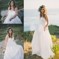 Wholesale pregnant brides wedding dresses resale online - Summer Beach Wedding Dresses for Pregnant Women Spaghetti Straps Country Style Empire Bridal Gowns Cheap Maternity Wedding Bride Dress