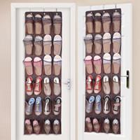 вешалка для ткани оптовых-24 ткани нейлоновые карманы за дверной стойкой для обуви Подвесная стойка для хранения обуви Свободный держатель для обуви для ног Организатор Пространство Сохранить с 3 крючками