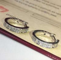 Wholesale christmas earrings resale online - diamons Earrings luxury designer Titanium steel thread Earrings K gold plated stainless Steel Classical Love gem Earrings For Women c