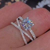 Wholesale three stone engagement ring sets resale online - Real Sterling Silver Ring CZ Diamond RINGS with LOGO and Original box Fit Pandora style Wedding Ring Engagement Jewelry for Women