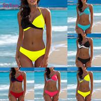 maillot bain femme großhandel-2019 Sexy Solide Bikinis Patchwork Frauen Badeanzug Halter Push Up Badeanzüge Criss Cross Bademode maillot de bain femme