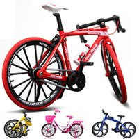 modelo de bicicletas de juguete al por mayor-Uno y diez creativa de aleación modelo de simulación de la decoración de la bicicleta juguete mini bicicleta niño presente modelo de moto de colección de Navidad con el paquete al por menor
