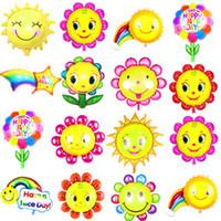 ingrosso regali arcobaleno per i bambini-Palloncino stagnola girasole Sorriso Viso adorabile Occhiali da sole Rainbow Air Balls Helium Palloncini Bambini Regali per feste di compleanno baby shower Decorazioni per matrimoni